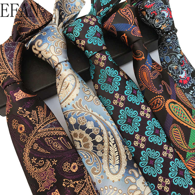 Nowy projekt Paisley Plaid żakardowe tkany jedwab męskie krawaty krawat 8cm paski krawaty dla mężczyzn garnitur formalne na wesele Party