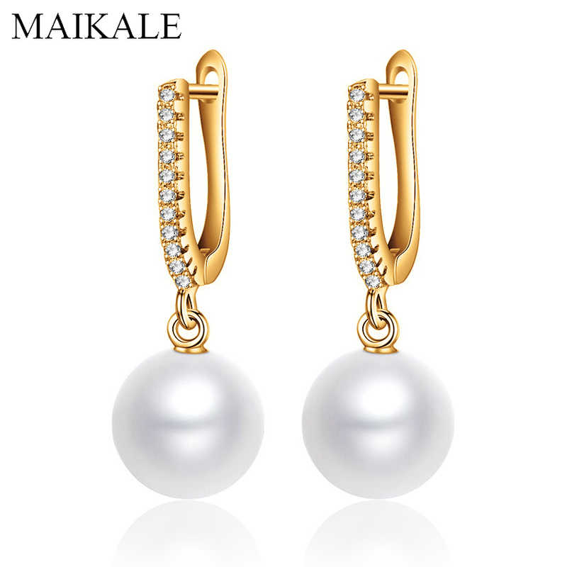 MAIKALE Simple White/Red Pearl Drop Earrings for Women Gold Silver Color Zirconia Long Earrings with Pearls Girls Jewelry Gifts