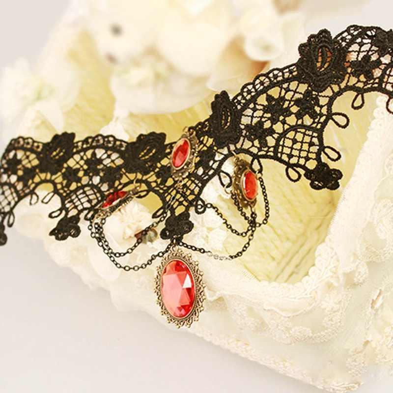 אופנה קוקטייל ערב מסיבת שמלת ויקטוריאני ליל כל הקדושים אדום ריינסטון קסמי ערפד תחרה שרשרת קולר תכשיטים