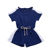 New Style Summer Baby Girls Boys Clothes Clothing Fashion Patchwork Matching Rompers Linen Cotton  Sleeveless Bow-Knot Jumpsuit цены онлайн
