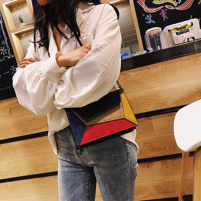 Hocodo Kulit Patchwork Wanita Messenger Tas Retro Matte Tas Selempang untuk Wanita Tali Rantai Tas Bahu Flap Silang tas
