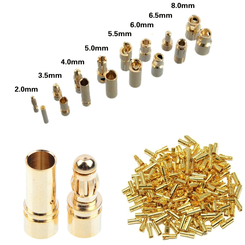 100pair Banana Plug 2mm 3mm 3.5mm 4mm Bullet Female Male Connectors 5mm 5.5mm 6mm 6.5mm 8mm Gold Plated Copper RC Parts Head