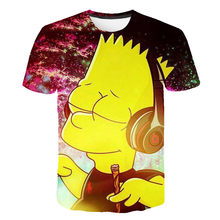 3d Kinderen Grappige Tee Streetwear Jongens En Meisjes Hiphop Trui Trainingspak Tops Shorts Print Simpson Roken Weed T-shirts(China)