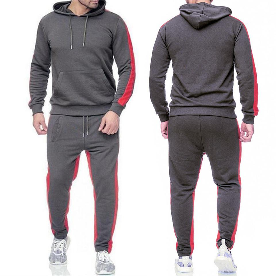 Men 2 Pieces Sets Tracksuit New Brand Autumn Winter Hooded Sweatshirt +Drawstring Pants Male Stripe Patchwork Hoodies Bigsweety