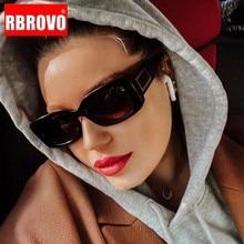 RBROVO-gafas de sol de alta calidad para mujer y hombre, anteojos de sol femeninos de marca Vintage, a la moda, rectangulares, color negro, con marco grande, 2021