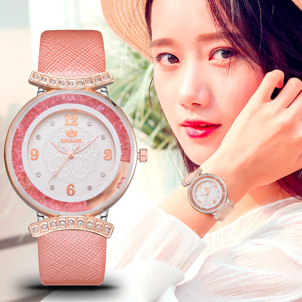 New Women Elegant Watch Rieger Begonia Colourful Crystal Dial Ladies Quartz Wristwatch Leather Band Montres Femmes Reloj Mujer