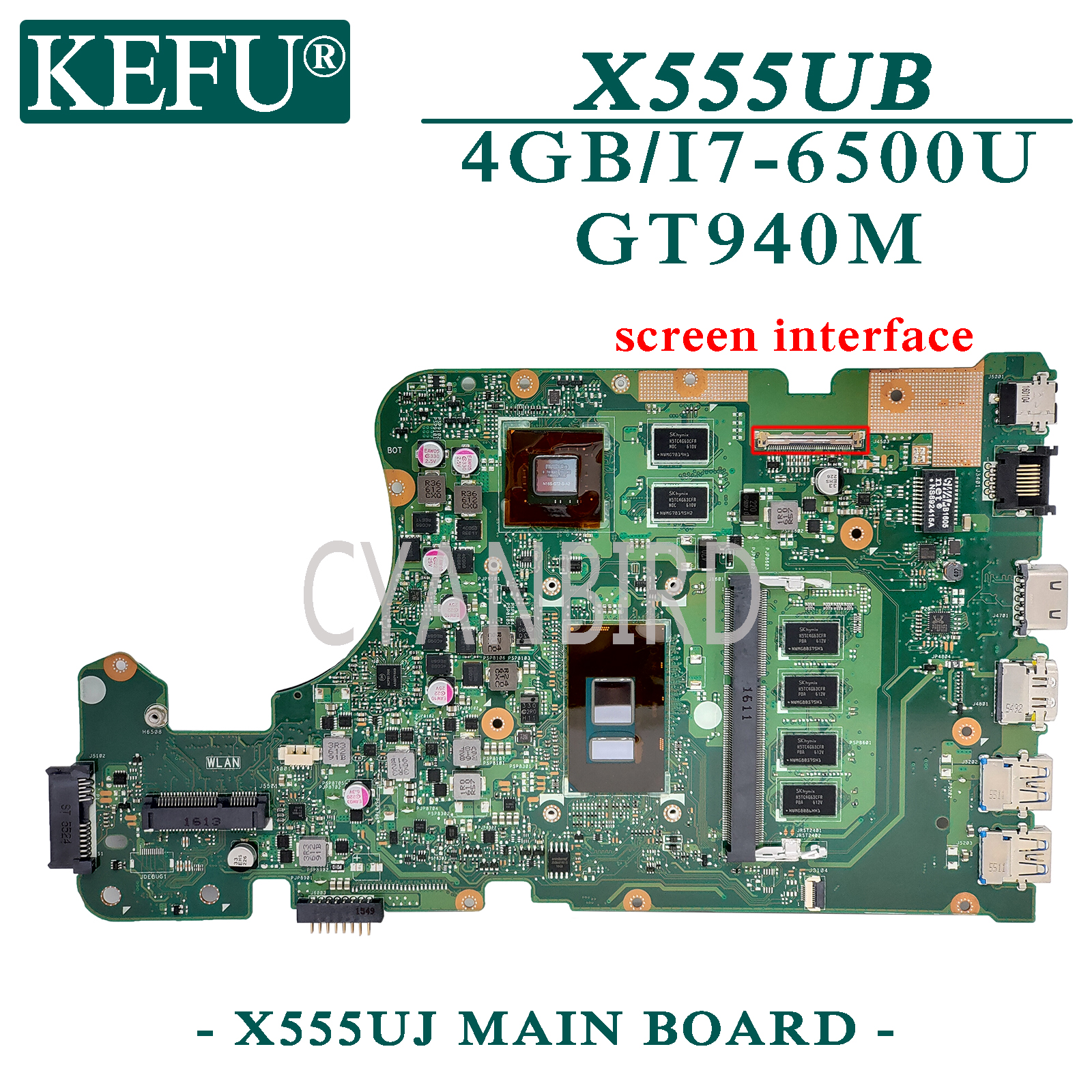 KEFU <font><b>X555UJ</b></font> original mainboard for <font><b>ASUS</b></font> X555UB X555UF F555U with 4GB-RAM I7-6500U GT940M Laptop motherboard image