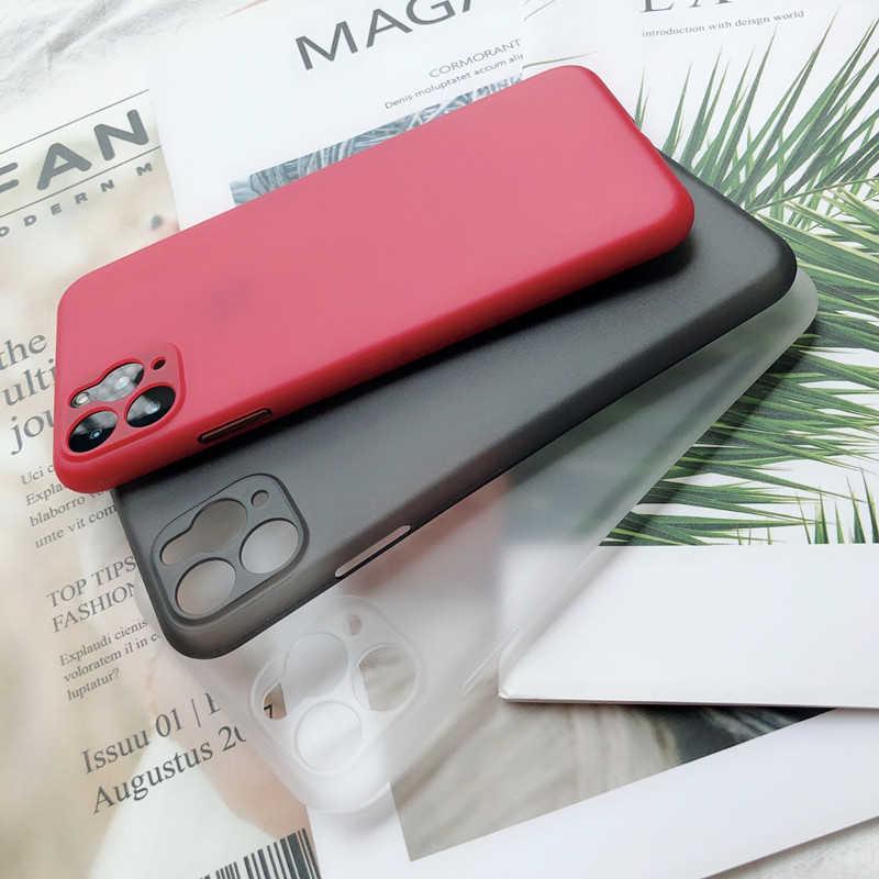 울트라 얇은 매트 투명한 PP 전화 케이스 아이폰 6 6S 7 8 플러스 XR X XS 11 프로 최대 케이스 커버 럭셔리 0.3mm 전화 가방