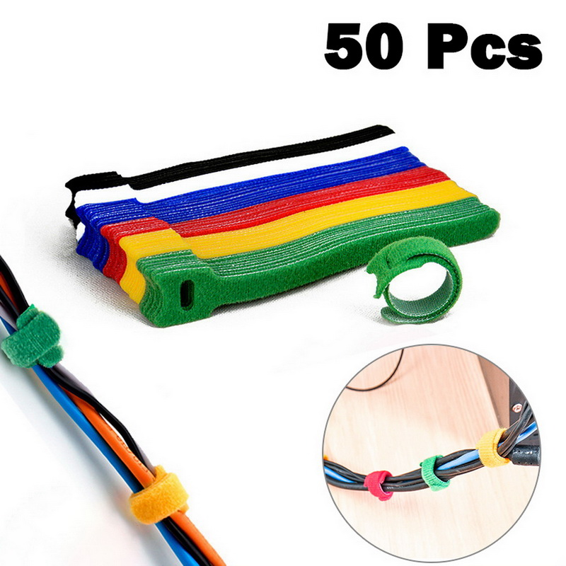 6Pieces Reusable Hook /& Loop Network Cable Winder Cord Ties Straps Organiser