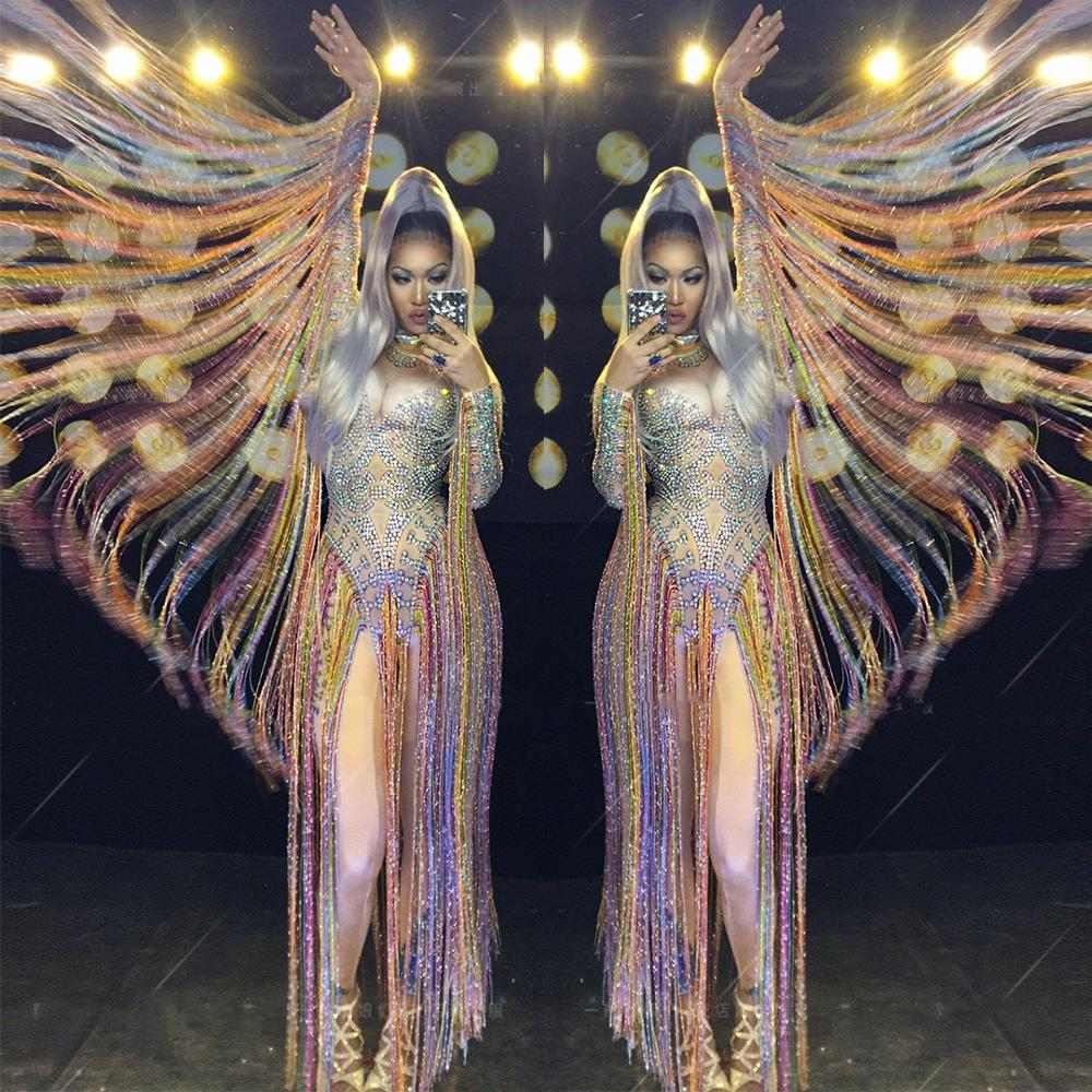Long Fringes Sleeve Crystals Bodysuit Sparkly Rhinestones Colorful Tassels Jumpsuit Stretch Stage Wear Nightclub Dancer Costume