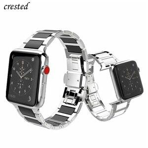 Ремешок из нержавеющей стали для Apple watch band 44 мм 40 мм iWatch band 42 мм 38 мм керамический браслет для часов Apple watch 5 4 3 2