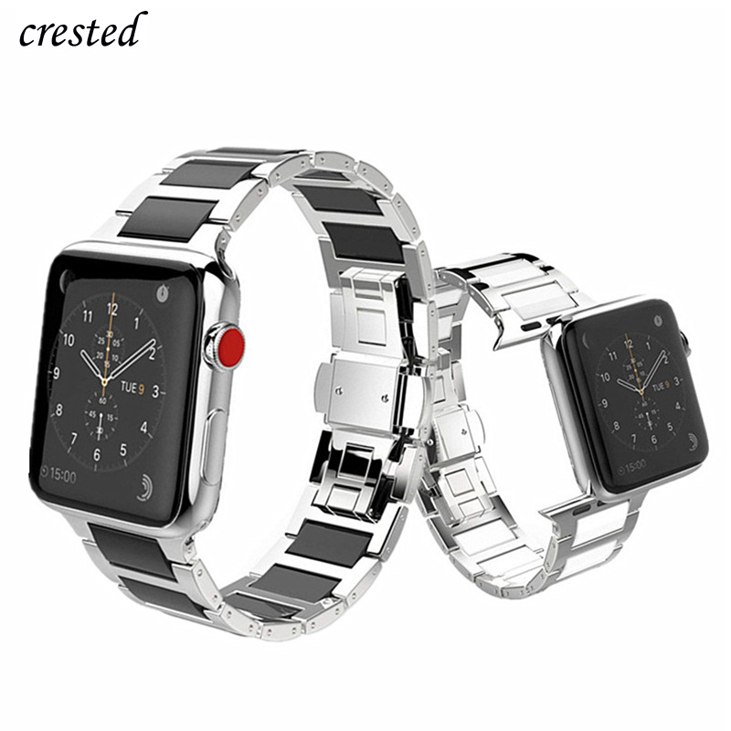 Stainless Steel Strap For Apple Watch Band 44 Mm 40mm IWatch Band 42mm 38mm Ceramic Watchband Link Bracelet Apple Watch 5 4 3 2