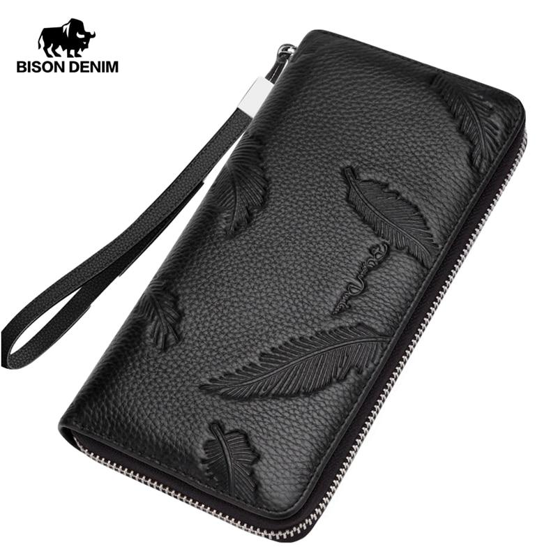 BISON DENIM Fashion Cowhide Leather Long Wallet Male Zipper Clutch Men's Wallet Phone Holder Long Coin Purse N8174-1