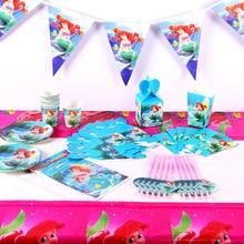 Мультфильм Русалка Принцесса Тема девушка день рождения набор одноразовая посуда бумажный баннер на тарелке, чашке коробка для конфет детский душ Декор