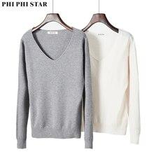 лучшая цена Phi Phi Star basic v-neck solid autumn winter Sweater Pullover Women Female Knitted sweater slim long sleeve badycon sweater