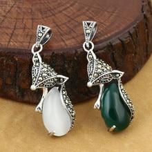 925 Sterling Silver Jewelry Retro Thai Silver Men And Women Models Marcasite Inlaid Agate Delicate Small Fox Pendant
