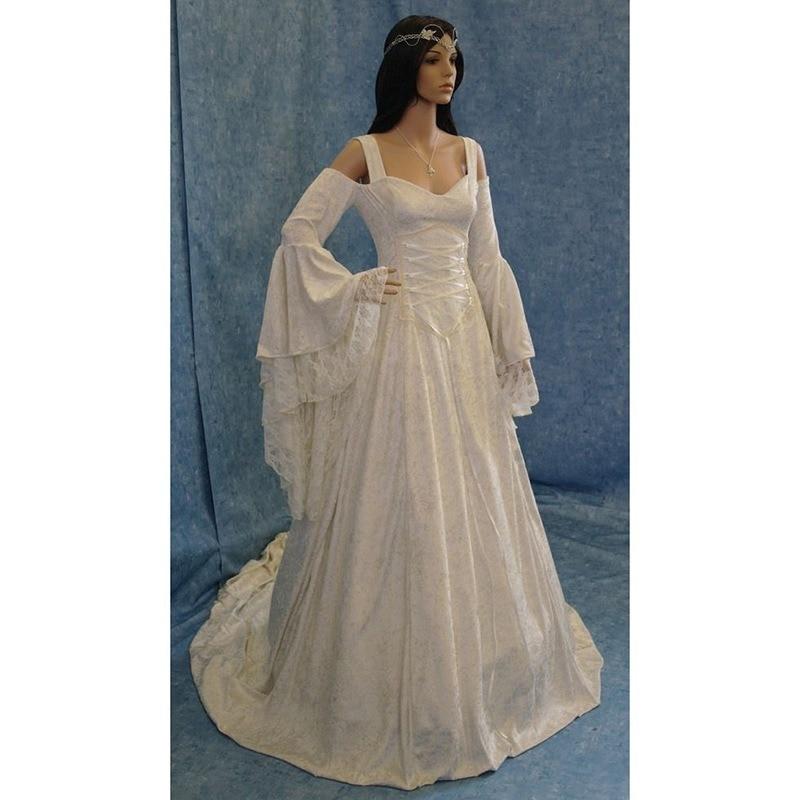QWEEK Halloween Dress for Women Plus Size Vintage Long Sleeve Balck Princess Dress Party Long Flare Sleeve Dress Women Clothes