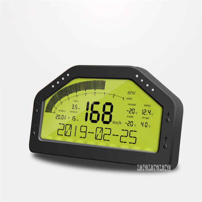 DO908 tableau de bord de voiture de course odomètre multifonctionnel LCD tableau de bord affichage numérique jauge compteur de vitesse compteur de vitesse pour véhicule 12V