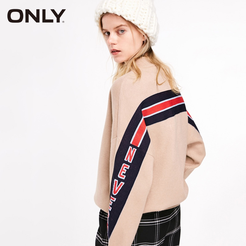 ONLY Chic Women Loose Letters Round Collar Turtleneck Sweater   119113518