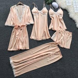 Image 4 - 5 Pieces Women Sexy Pajamas Silk Satin Pajamas Autumn Spring Elegant Lace Nightwear large Size Sleep Lounge