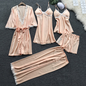 Image 3 - Sexy Womens Robe & Gown Sets Lace Bathrobe + Night Dress 5 Five Pieces Sleepwear Womens Sleep Set Faux Silk Robe Femme NO.337