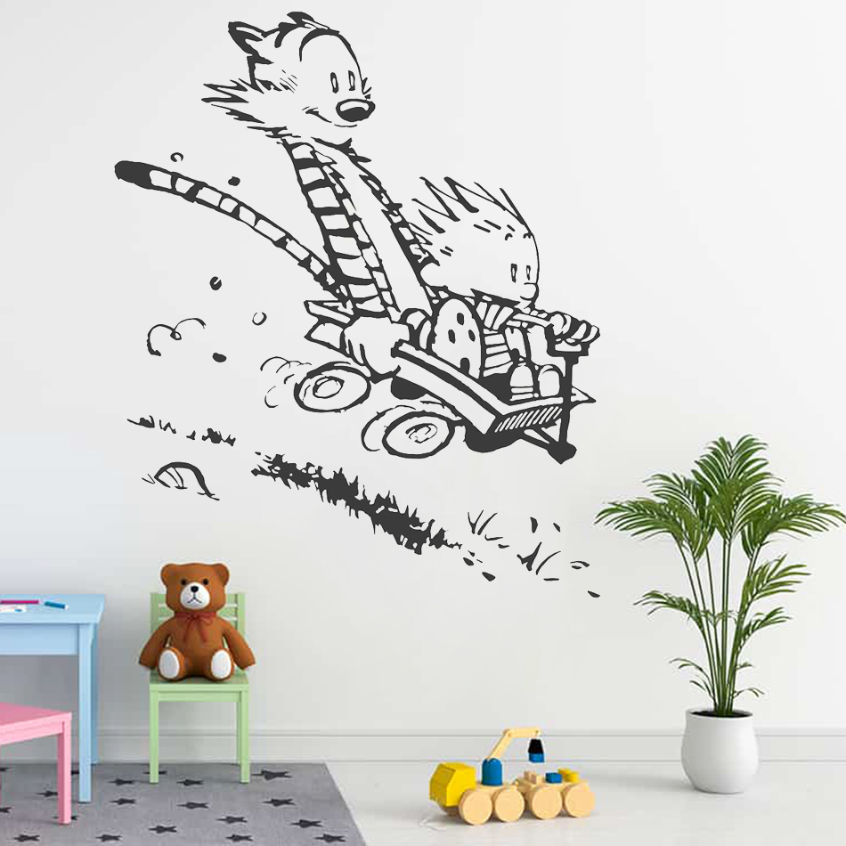 US $6.59 26% OFF Wall Decal Vinyl Sticker Calvin and Hobbes Home House  Living Room Kid Boy Girl Bedroom Art Decoration Poster Mural Paper WW  307-in ...