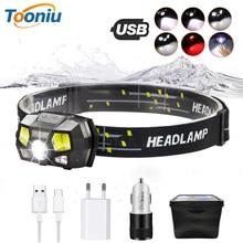Super bright  LED Headlamp Built-in inductive sensor USB rechargeable 6 lighting mode LED Headlight for running, fishing, etc. цена и фото
