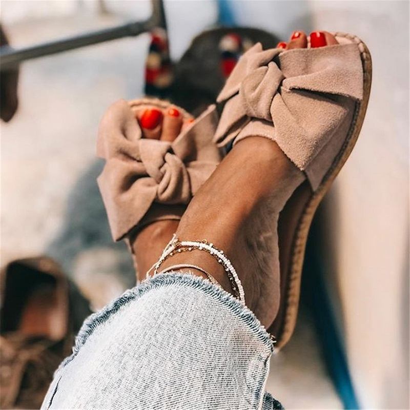 2020 New Slippers <font><b>Women</b></font> Torridity Bow Torridity Sandals Slipper Indoor Outdoor -flops Beach <font><b>Shoes</b></font> Female <font><b>Shoes</b></font> size 35-43 image