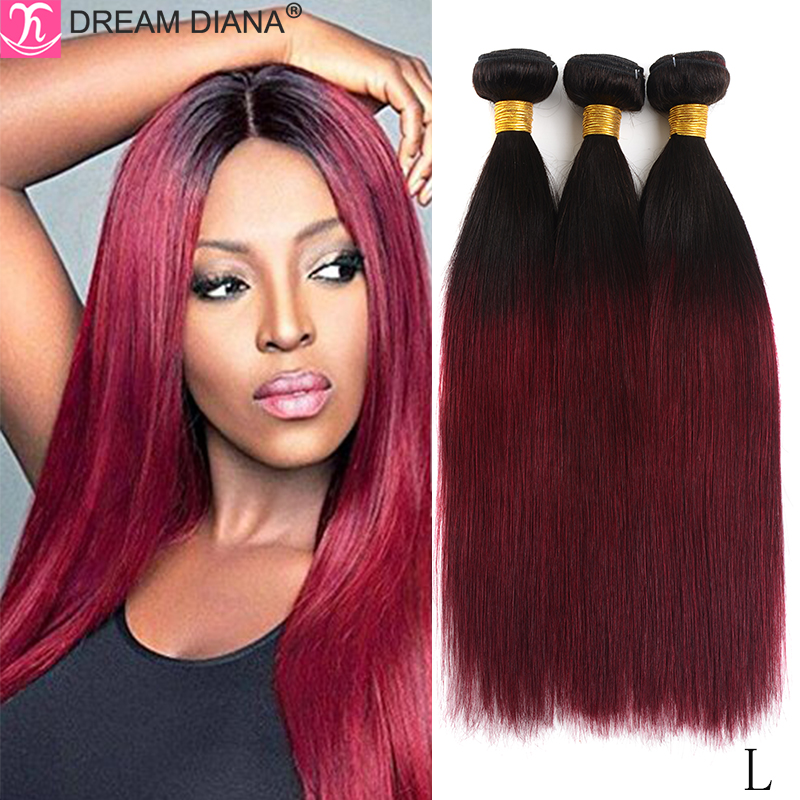 DreamDiana Two Tones Brazilian Hair Bundles Dark Roots Ombre Straight Hair 3 Bundles 27 30 99J Colored Remy Colored Human Hair L