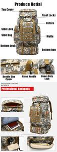Image 5 - 80L Waterproof Molle Camo Tactical Backpack Military Army Hiking Camping Backpack Travel Rucksack Outdoor Sports Climbing Bag