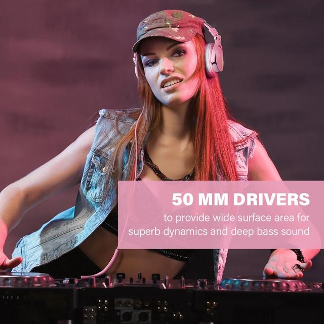 Oneodio Pink Headphones Gaming Headset With Microphone Wired Professional DJ Studio Stereo Headphone For PC Computer Women Girls 4