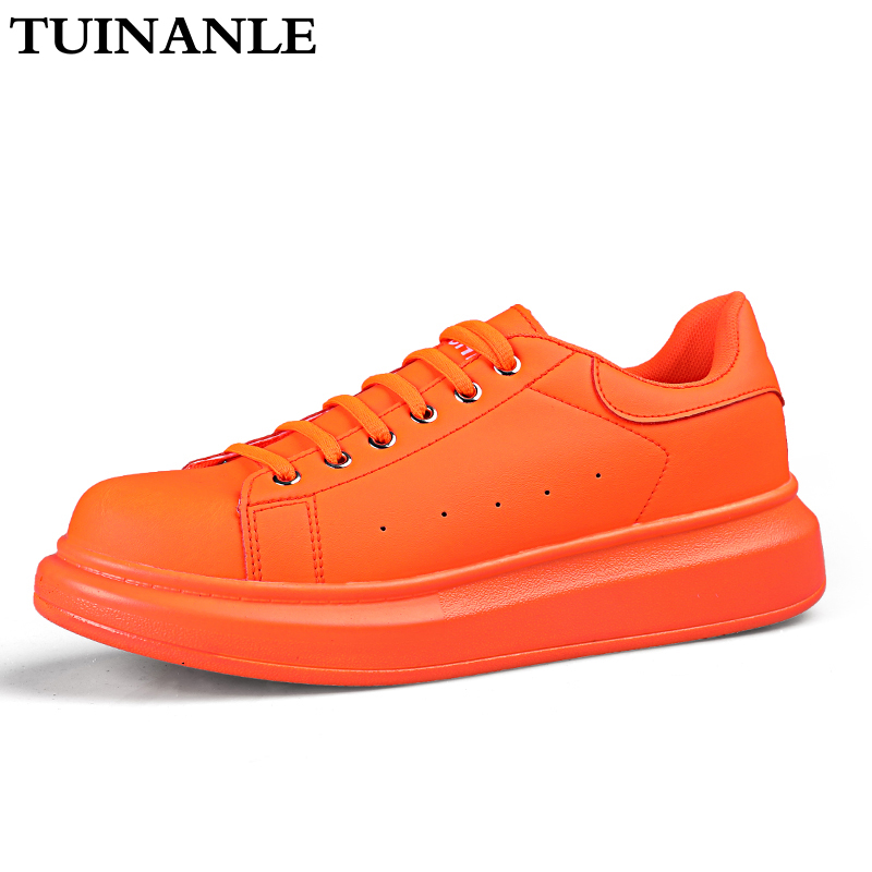 Sneakers Women 2020 Fashion Vulcanized Shoes Lover Lace-up Casual Shoes Orange Basket Shoes Breathable Walking Sewing Men Flats