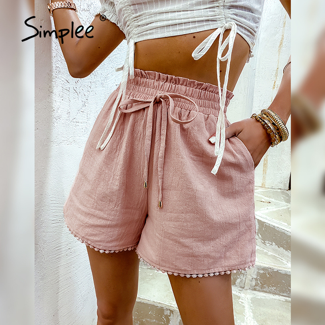 Simplee Elastic waist drawstring shorts Pocket dusty pink summer shorts woman Causal loose lace hollow out side shorts 2021 new 2