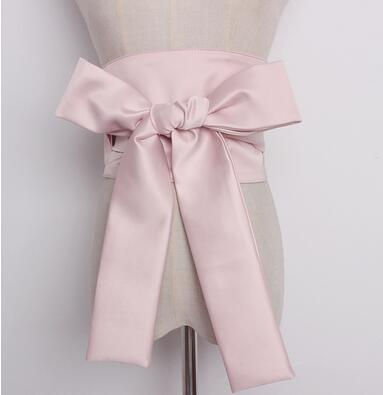 Women's Runway Fashion Bow Satin Cummerbunds Female Dress Coat Corsets Waistband Belts Decoration Wide Belt R1802