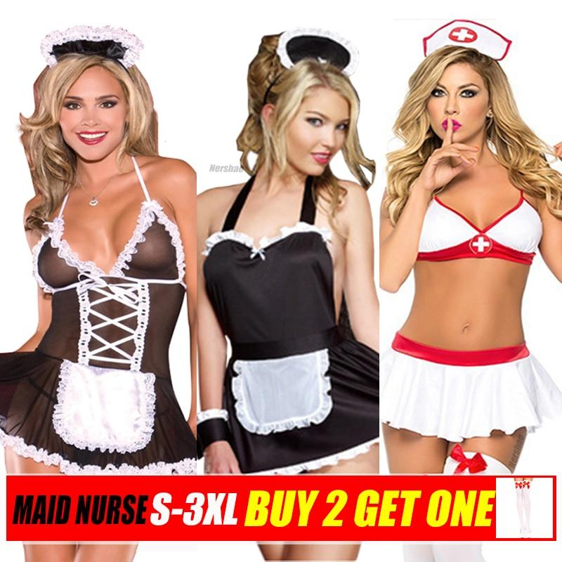 S-3XL, сексуальное нижнее белье, горячее эротическое платье, Babydoll, женское нижнее белье, костюмы медсестры для косплея, товары для секса, Porno ...