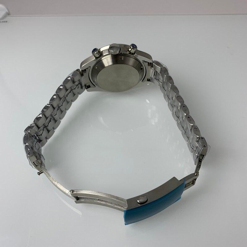 Parnis 39 мм черный циферблат кварцевые мужские часы водонепроницаемый сапфировый Кристалл хронограф светящийся мужские часы zegarek meski мужские ... - 5