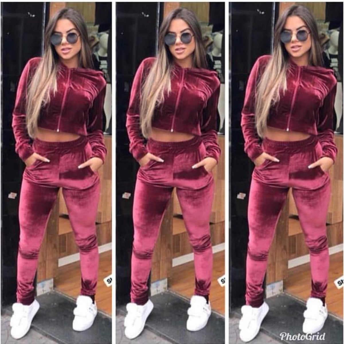 Autumn 2019 Outfits Velvet Two Piece Set Women Sweatsuit Short Design Hoodie Tops Pant Sweat Suit Matching Velour Tracksuit Aliexpress