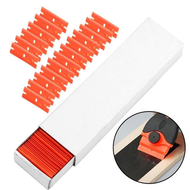Window Glass Clean Scraper 100pcs Double Edged Plastic Razor Blade Car Wrap Sticker Squeegee Lable Clean Razor Glue Remover