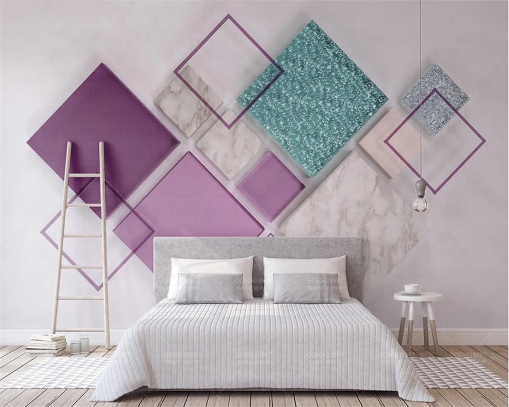 US $8 55 OFF Beibehang Kustom 3D Wallpaper Mural Ungu Kaca Transparan Logam Mosaik 3d Stereo Dinding Latar Belakang TV Papel De Parede Wallpaper