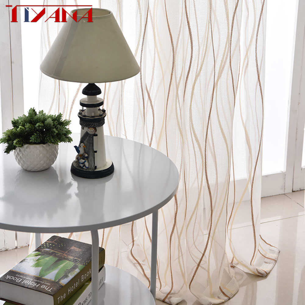 Thicken White Curtain Screens For Living Room Balcony Modern Striped Curtain Tulle Bedroom Window Cortinado De Sala Wp377&30