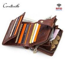 CONTACTS Da Thật Chính Hãng Da RFID Vintage Ví Nam Với Đồng Tiền Túi Ngắn Ví Khóa Kéo Nhỏ Walet Với Ngăn Đựng Thẻ Người Ví