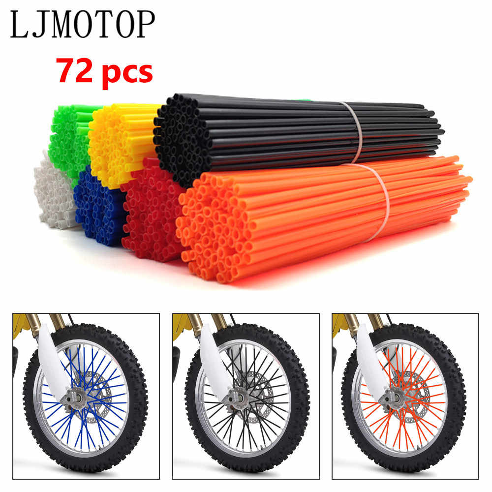 72 PCS Motorcycle Wheel Rim Spoke Cover Wraps Skins Cover Deep Black