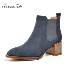 Women Winter Snow Boots Genuine Suede leather Ankle Spring cheleas boot woman Short black 2019 for women boots blue