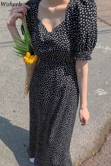 Woherb Women Dress Korean Fashion New Clothes Vintage Square Collar Lace Up Vestidos Slim Fit Print Lantern Sleeve Dresses 92609 6