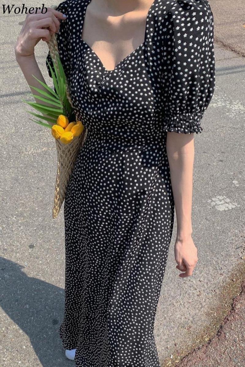 Woherb Women Dress Korean Fashion New Clothes Vintage Square Collar Lace Up Vestidos Slim Fit Print Lantern Sleeve Dresses 92609