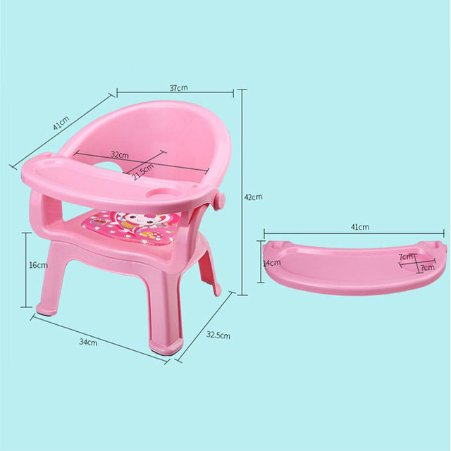 2019New Children's Dining Chair With Plate Baby Eating Table Baby Chair Dining Table Back Call Called Chair Baby Plastic Stool 5