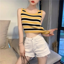Vest Summer Ladies Vintage Contrast Round Neck Sleeveless Top Stripe Ribbed Summer Knit Ms. Mini Tops