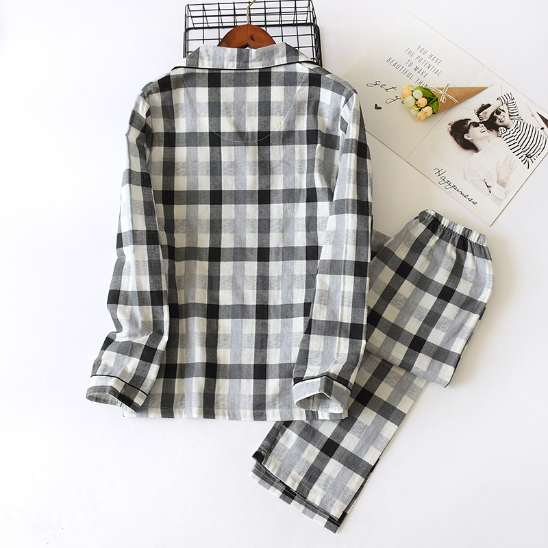 Spring and Autumn Couple Pajamas Cotton Plaid Nightwear Service Long-sleeved Trousers Loose Casual Sleepwear Suit Pigiami Donna