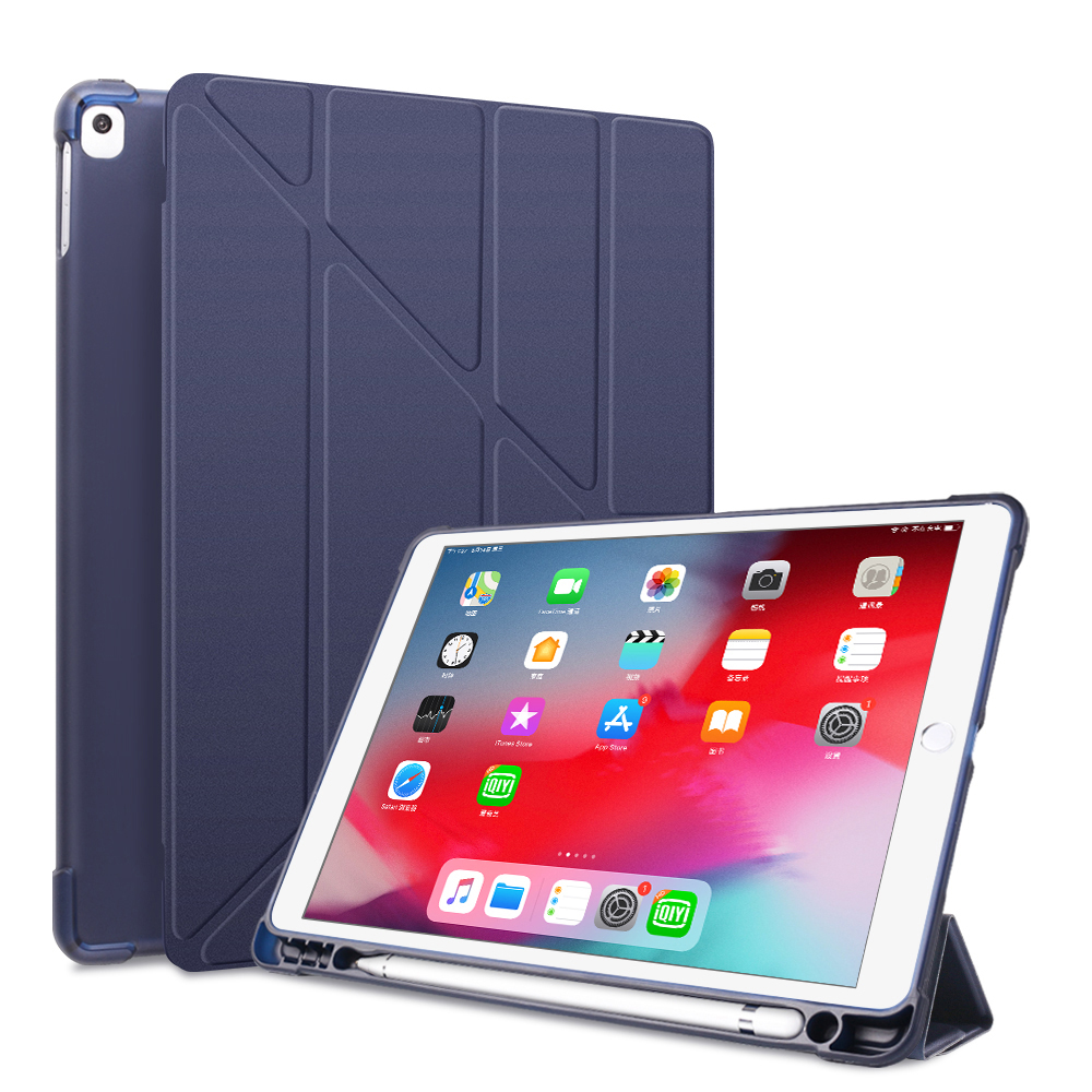 Deep Blue White For iPad 10 2 2020 2019 Case A2197 A2270 PU Leather Silicone Smart Cover For iPad