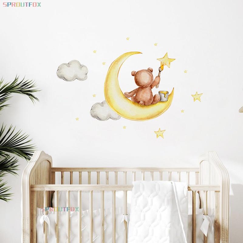 Художник наклейки на стену в виде медведя для детских комнат Гостиная Животные Луна наклейки-звезды Спальня Стикеры для домашнего декора